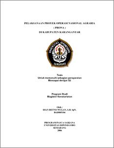 Pelaksanaan Proyek Operasi Nasional Agraria Prona Di Kabupaten Karanganyar Diponegoro University Institutional Repository Undip Ir