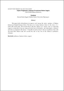 Kesantunan Direktif Dalam Surat Bisnis Kajian Penggunaan