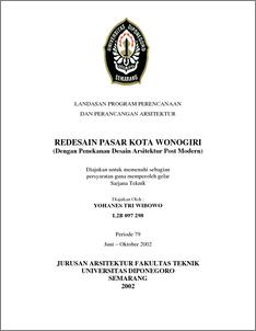 Redesain Pasar Kota Wonogiri Diponegoro University Institutional Repository Undip Ir