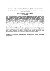 STUDI KUALITATIF : ANALISIS POTENSI BAHAYA DENGAN ...